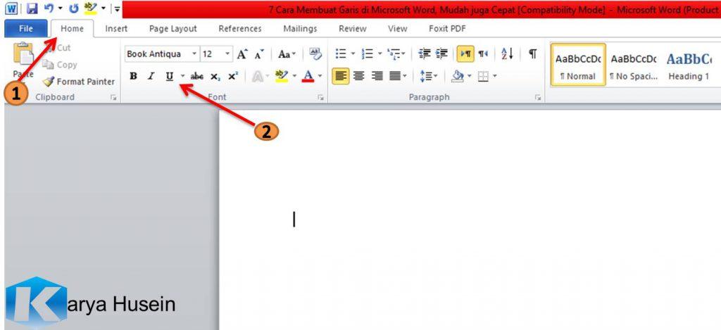 membuat garis di microsoft word_underline